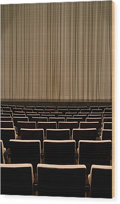 Closed Curtain In An Empty Theater Wood Print by Adam Burn