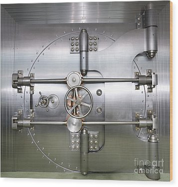 Closed Door To A Bank Vault Wood Print by Adam Crowley