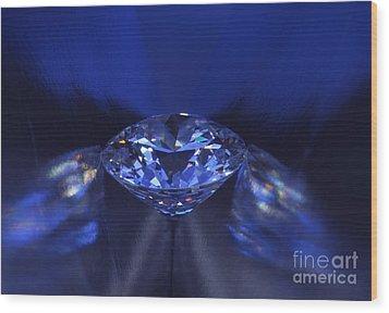 Closeup Blue Diamond In Blue Light. Wood Print by Atiketta Sangasaeng