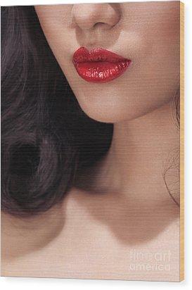 Closeup Of Woman Red Lips Wood Print by Oleksiy Maksymenko