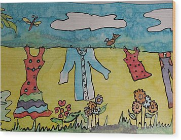 Clothesline Wood Print by Yvonne Feavearyear