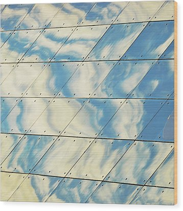 Cloud Reflections On Building Mirror Wood Print by Befo