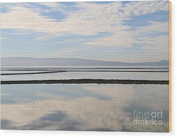 Cloud Reflections On Salt Marsh At Coyote Hills Regional Preserve California . 7d10968 Wood Print by Wingsdomain Art and Photography