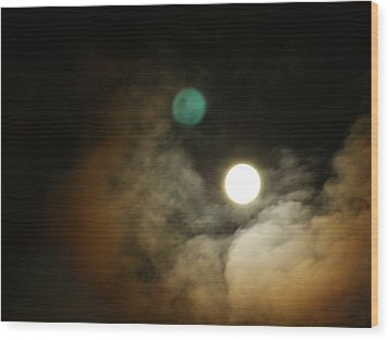 Clouded Moon Wood Print by Steve Sperry