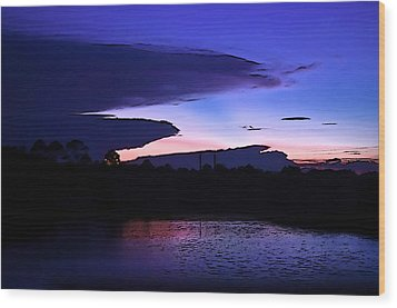 Wood Print featuring the photograph Clouded Sunset Over The Tomoka by DigiArt Diaries by Vicky B Fuller