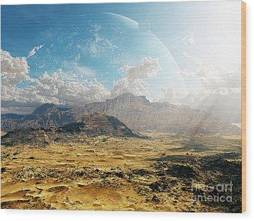 Clouds Break Over A Desert On Matsya Wood Print by Brian Christensen
