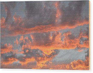 Clouds On Fire Wood Print by Kevin Bone