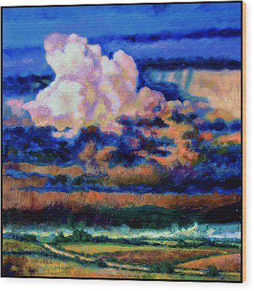 Clouds Over Country Road Wood Print by John Lautermilch