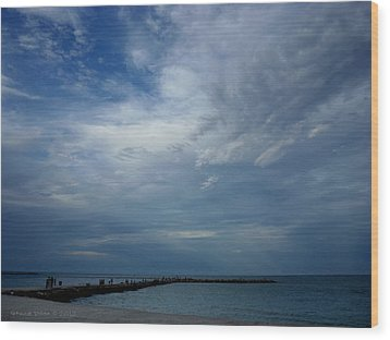 Clouds Over The Jetty Wood Print by Grace Dillon