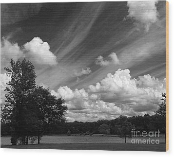 Clouds Over The Lake 1 Wood Print