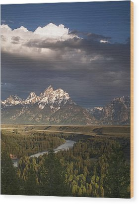Clouds Over The Tetons Wood Print by Andrew Soundarajan