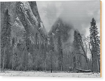 Clouds Over Yosemite Valley Wood Print by Stephen  Vecchiotti