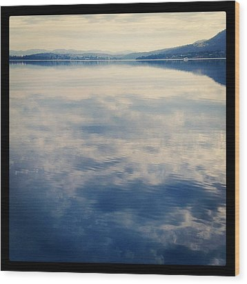 Clouds Reflected On River Wood Print by Jodie Griggs