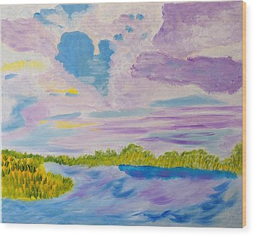 Clouds' Reflections Wood Print by Meryl Goudey