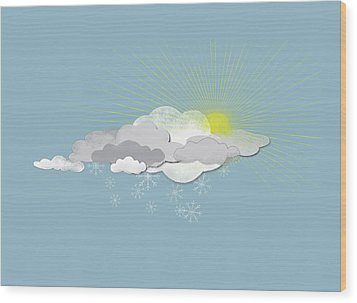 Clouds, Sun And Snowflakes Wood Print by Jutta Kuss