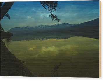 Clouds Trying To Dance In Still Water Wood Print by Jeff Swan