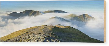 Cloudsurfing Grisedale Pike Wood Print by Stewart Smith
