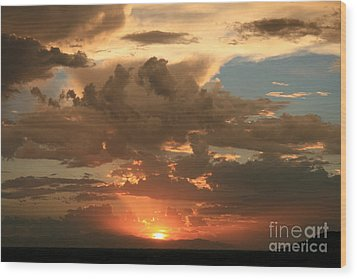 Cloudy Orange Sunset Wood Print by Cassandra Lemon