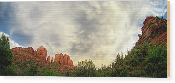 Cloudy Skies Over Cathedral Rock Wood Print by David Sunfellow