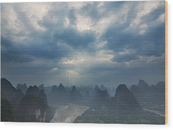 Wood Print featuring the photograph Cloudy Sunset In Guilin Guangxi China by Afrison Ma