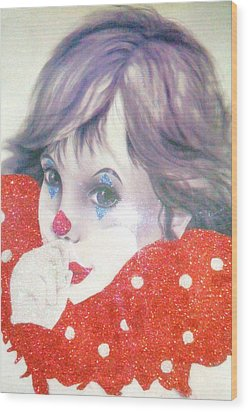 Clown Baby Wood Print by Unique Consignment