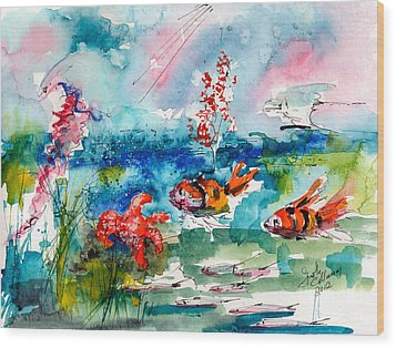 Clown Fish Deep Sea Watercolor Wood Print by Ginette Callaway