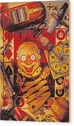 Clown Toy And Old Playthings Wood Print by Garry Gay