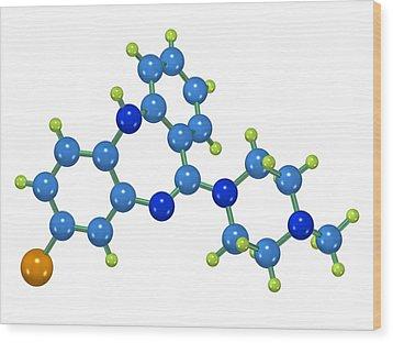 Clozapine Antipsychotic Drug Molecule Wood Print by Dr Mark J. Winter