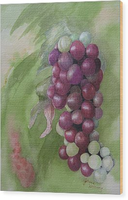 Cluster Of Grapes Wood Print by JoAnne Hessong