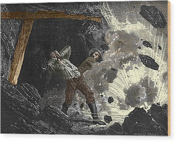 Coal Mine Explosion, 19th Century Wood Print by Sheila Terry