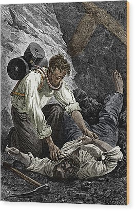 Coal Mine Rescue, 19th Century Wood Print by Sheila Terry