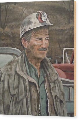 Wood Print featuring the painting Coal Miner At Isabella Mine by James Guentner
