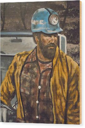 Wood Print featuring the painting Coal Miner At Mariana Mine by James Guentner