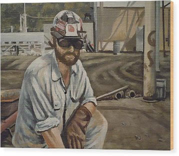 Wood Print featuring the painting Coal Miner At Vestaburg Mine by James Guentner