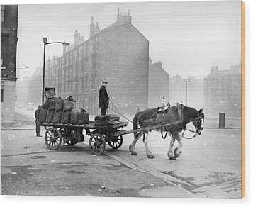 Coalman And Cart Wood Print by Albert McCabe