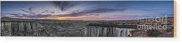 Coalmine Canyon Panoramic Sunset Wood Print by Darcy Michaelchuk
