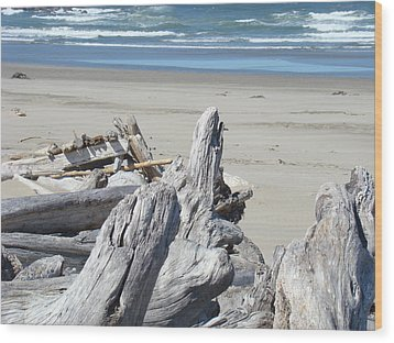 Coastal Driftwood Art Prints Blue Waves Ocean Wood Print by Baslee Troutman