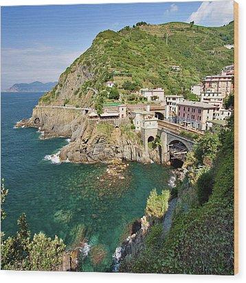Coastal Railway Tunnel In Italian Village Wood Print by Wx Photography