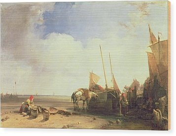 Coastal Scene In Picardy Wood Print by Richard Parkes Bonington