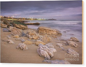 Coastline At Twilight Wood Print by Carlos Caetano
