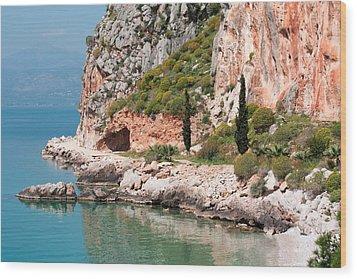 Coastline Of Greece Wood Print by Shirley Mitchell