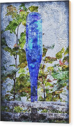 Cobalt Blue Bottle Triptych 1 Of 3 Wood Print by Andee Design