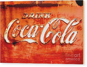 Coca Cola Wood Print by Amy Sorrell
