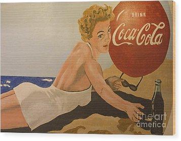 Coca Cola  Vintage Sign Wood Print by Bob Christopher