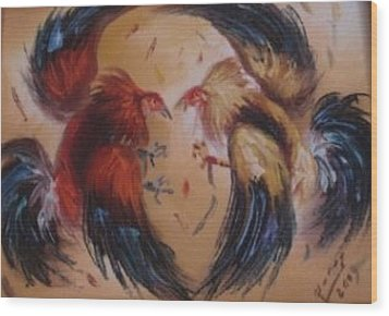Cock Fight Wood Print by Pretchill Smith