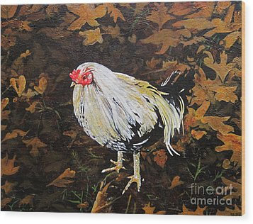 Cockerel Wood Print by Carrie Jackson