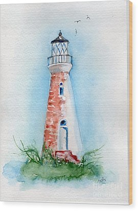 Wood Print featuring the painting Cockspur Lighthouse 2 by Doris Blessington