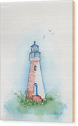 Wood Print featuring the painting Cockspur Lighthouse by Doris Blessington