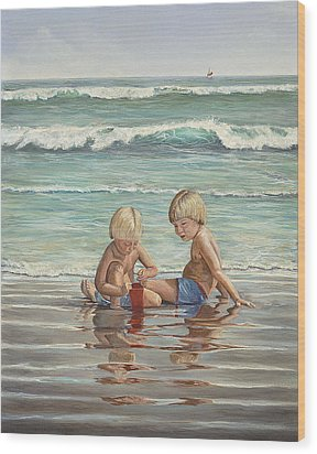 Wood Print featuring the painting Cocoa Beach Sandcastles by AnnaJo Vahle