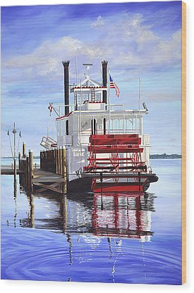 Cocoa Belle At Dock Wood Print by AnnaJo Vahle